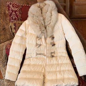Elie Tahari midi puffer coat with fur size XS.